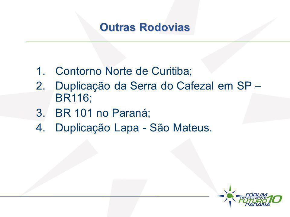 1.Contorno Norte de Curitiba; 2.Duplicação da Serra do Cafezal em SP – BR116; 3.BR 101 no Paraná; 4.Duplicação Lapa - São Mateus. Outras Rodovias