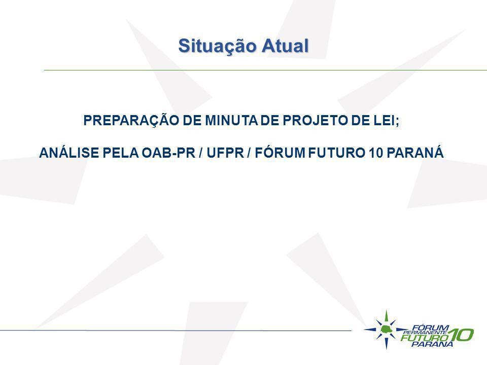 PREPARAÇÃO DE MINUTA DE PROJETO DE LEI; ANÁLISE PELA OAB-PR / UFPR / FÓRUM FUTURO 10 PARANÁ R$ ---- 000.000.000,00 (BANCO DE PROJETOS) Situação Atual