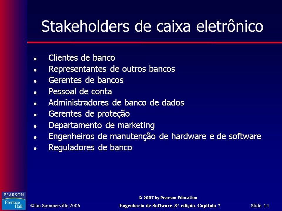 ©Ian Sommerville 2006Engenharia de Software, 8ª. edição. Capítulo 7 Slide 14 © 2007 by Pearson Education Stakeholders de caixa eletrônico Clientes de