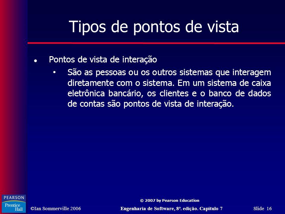 ©Ian Sommerville 2006Engenharia de Software, 8ª. edição. Capítulo 7 Slide 16 © 2007 by Pearson Education Tipos de pontos de vista Pontos de vista de i