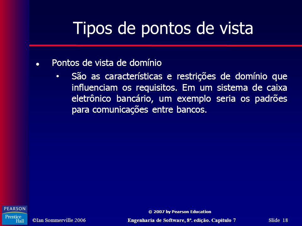 ©Ian Sommerville 2006Engenharia de Software, 8ª. edição. Capítulo 7 Slide 18 © 2007 by Pearson Education Tipos de pontos de vista Pontos de vista de d