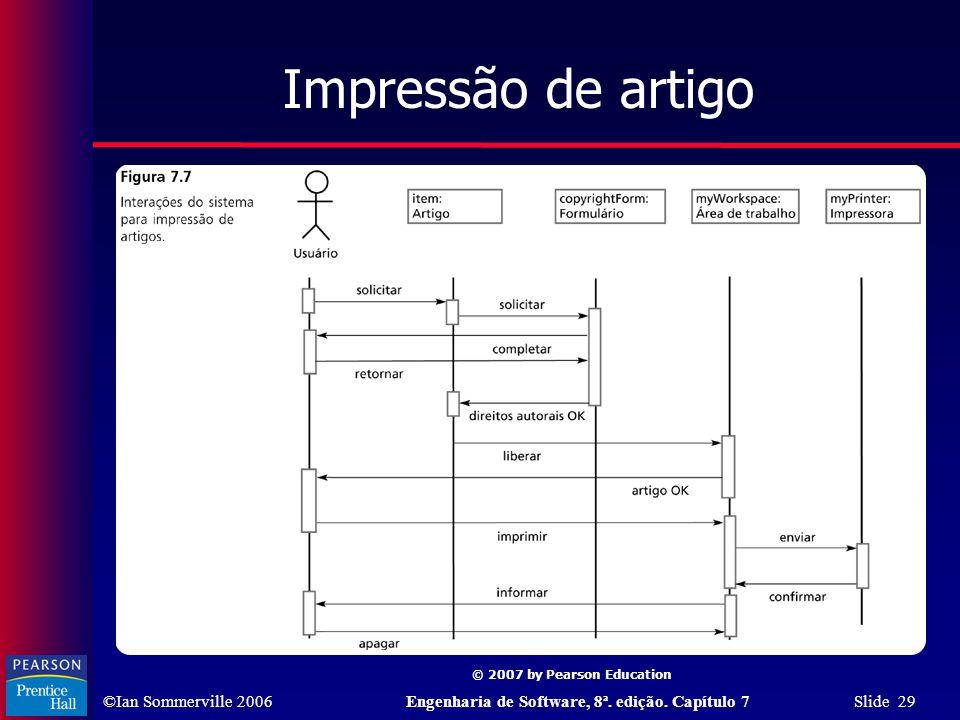 ©Ian Sommerville 2006Engenharia de Software, 8ª. edição. Capítulo 7 Slide 29 © 2007 by Pearson Education Impressão de artigo