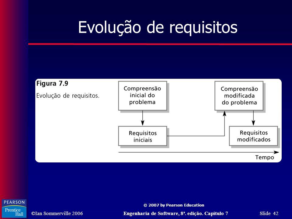 ©Ian Sommerville 2006Engenharia de Software, 8ª. edição. Capítulo 7 Slide 42 © 2007 by Pearson Education Evolução de requisitos