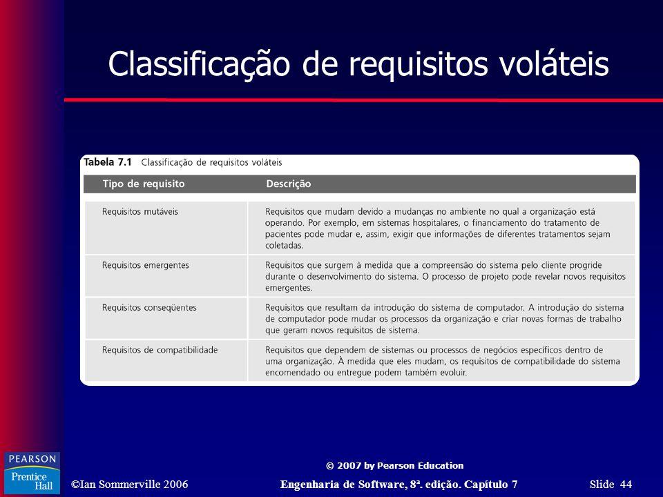 ©Ian Sommerville 2006Engenharia de Software, 8ª. edição. Capítulo 7 Slide 44 © 2007 by Pearson Education Classificação de requisitos voláteis