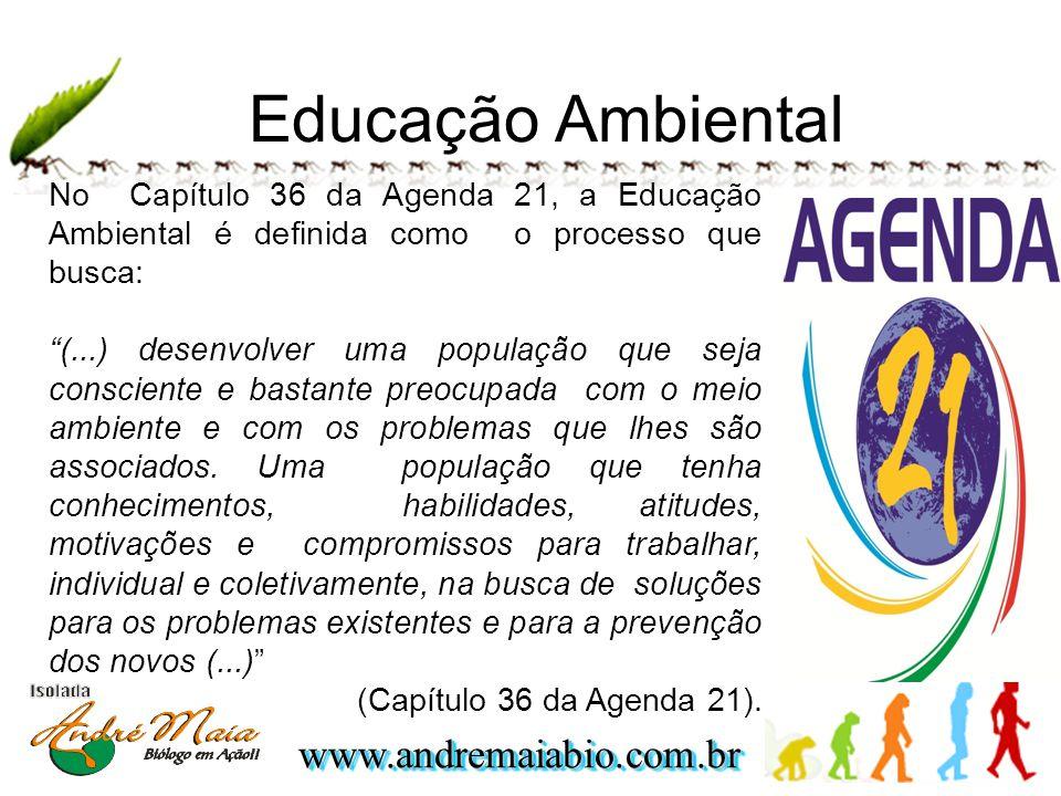 www.andremaiabio.com.brwww.andremaiabio.com.br Educação Ambiental No Capítulo 36 da Agenda 21, a Educação Ambiental é definida como o processo que busca: (...) desenvolver uma população que seja consciente e bastante preocupada com o meio ambiente e com os problemas que lhes são associados.