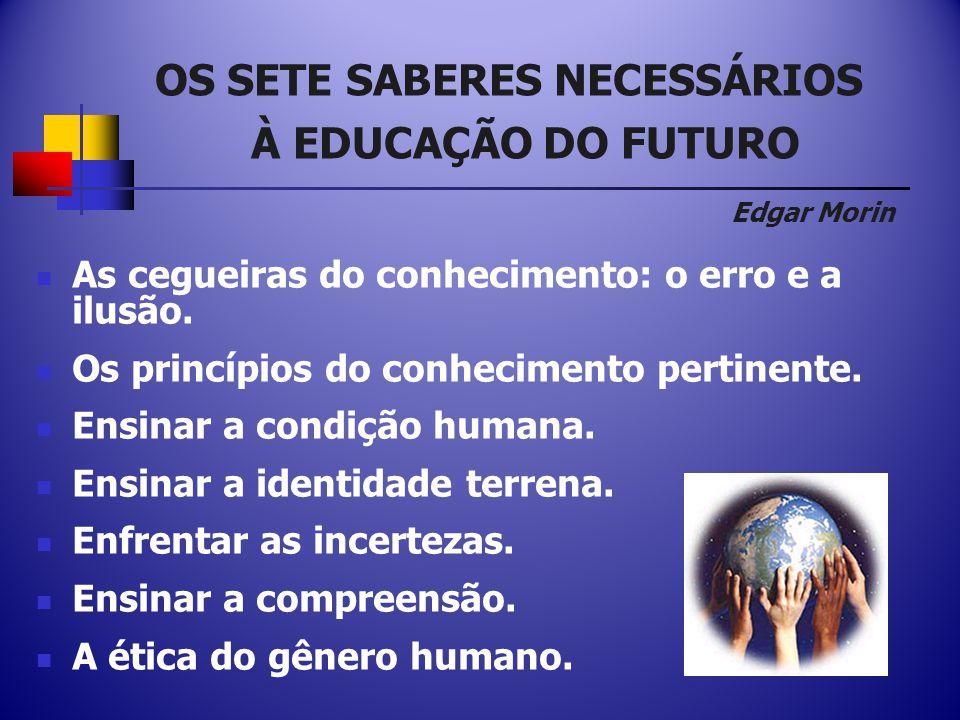 OS SETE SABERES NECESSÁRIOS À EDUCAÇÃO DO FUTURO Edgar Morin As cegueiras do conhecimento: o erro e a ilusão.