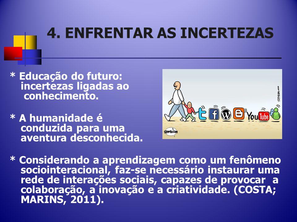 4.ENFRENTAR AS INCERTEZAS * Educação do futuro: incertezas ligadas ao conhecimento.