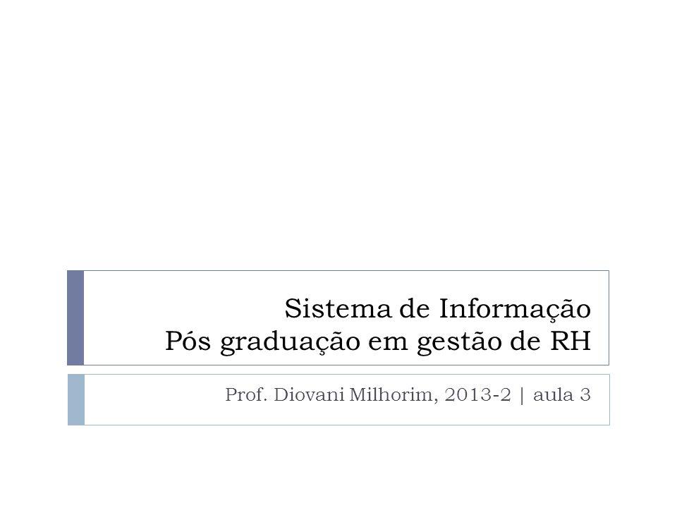 Sistema de Informação Pós graduação em gestão de RH Prof. Diovani Milhorim, 2013-2 | aula 3
