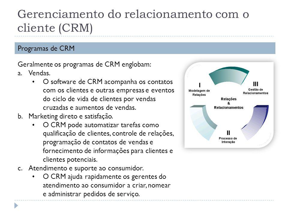Gerenciamento do relacionamento com o cliente (CRM) Programas de CRM Geralmente os programas de CRM englobam: a.Vendas. O software de CRM acompanha os