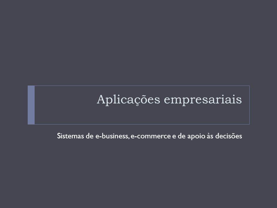 Aplicações empresariais A Internet e outras forma da TI apoiam o funcionamento das empresas principalmente nos processos de e-business, e-commerce e de tomada de decisão.