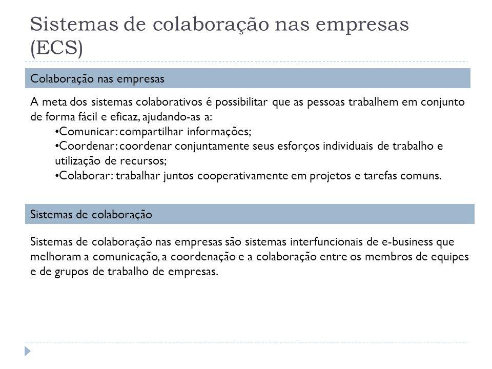 Sistemas de colaboração nas empresas (ECS) Colaboração nas empresas A meta dos sistemas colaborativos é possibilitar que as pessoas trabalhem em conju