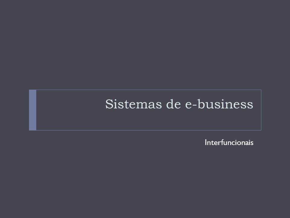 Sistemas de e-business interfuncionais Estruturas de aplicações de e-business As estrutura de aplicações de e-business é composta de componentes das aplicações, os inter-relacionamentos e as interfaces com clientes, funcionários, parceiros de negócio e outros interessados num empreendimento de e-business.
