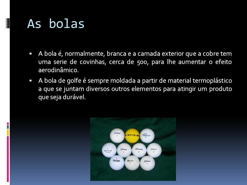 As bolas A bola é, normalmente, branca e a camada exterior que a cobre tem uma serie de covinhas, cerca de 500, para lhe aumentar o efeito aerodinâmic