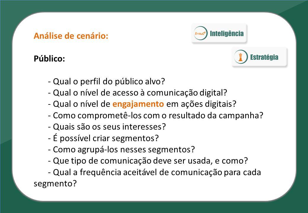 Análise de cenário: Público: - Qual o perfil do público alvo? - Qual o nível de acesso à comunicação digital? - Qual o nível de engajamento em ações d