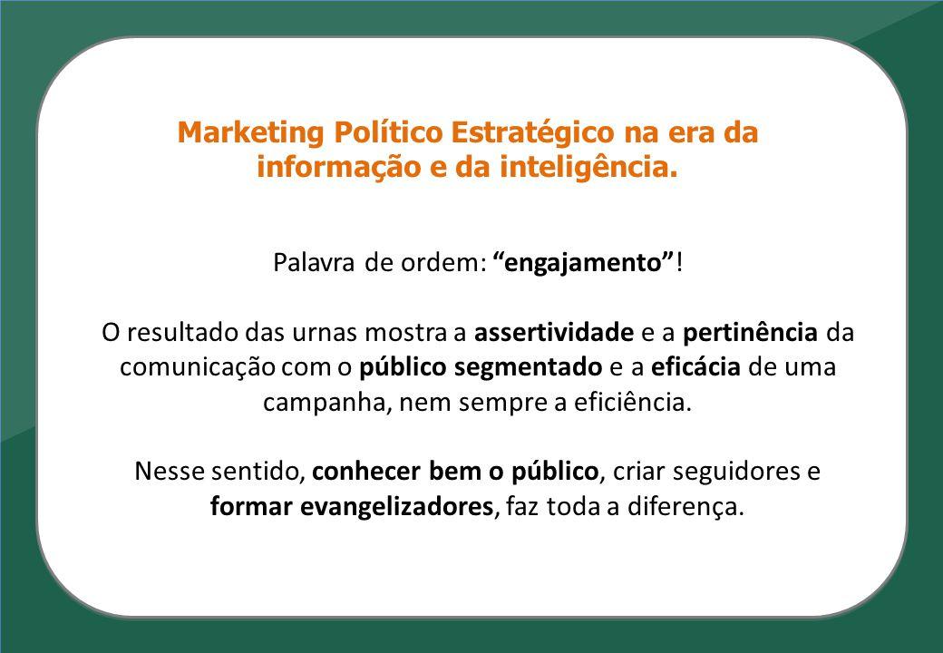 Marketing Político Estratégico na era da informação e da inteligência. Palavra de ordem: engajamento! O resultado das urnas mostra a assertividade e a