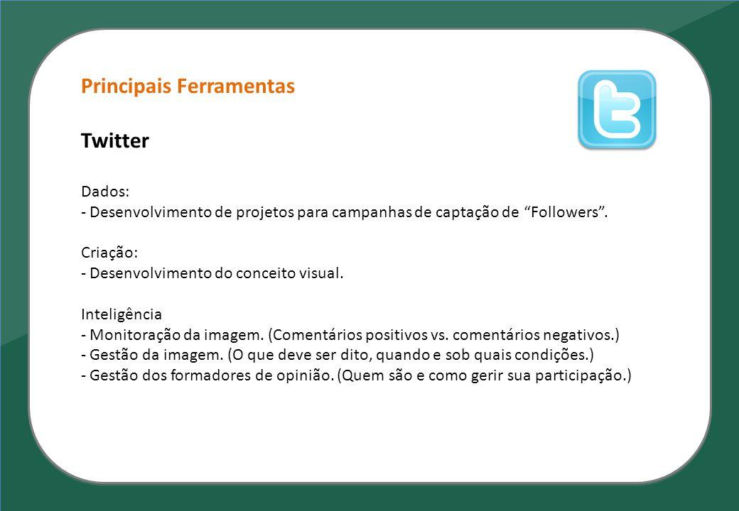 Principais Ferramentas Twitter Dados: - Desenvolvimento de projetos para campanhas de captação de Followers. Criação: - Desenvolvimento do conceito vi