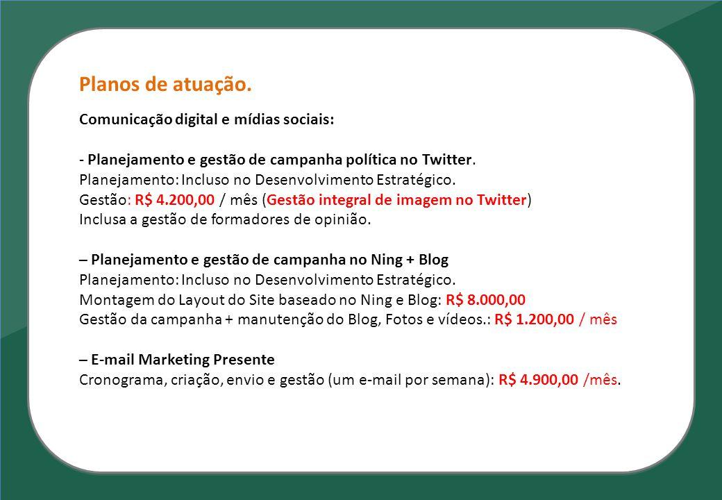 Planos de atuação. Comunicação digital e mídias sociais: - Planejamento e gestão de campanha política no Twitter. Planejamento: Incluso no Desenvolvim