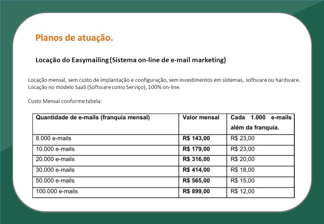 Planos de atuação. Locação do Easymailing (Sistema on-line de e-mail marketing) Locação mensal, sem custo de implantação e configuração, sem investime