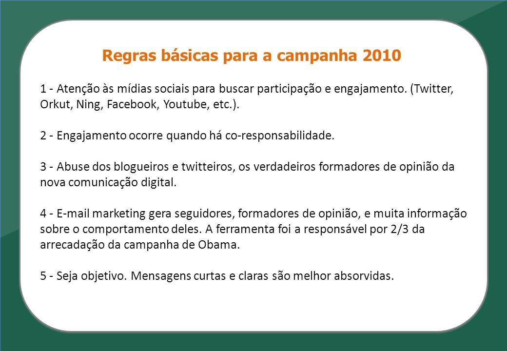 Regras básicas para a campanha 2010 1 - Atenção às mídias sociais para buscar participação e engajamento. (Twitter, Orkut, Ning, Facebook, Youtube, et