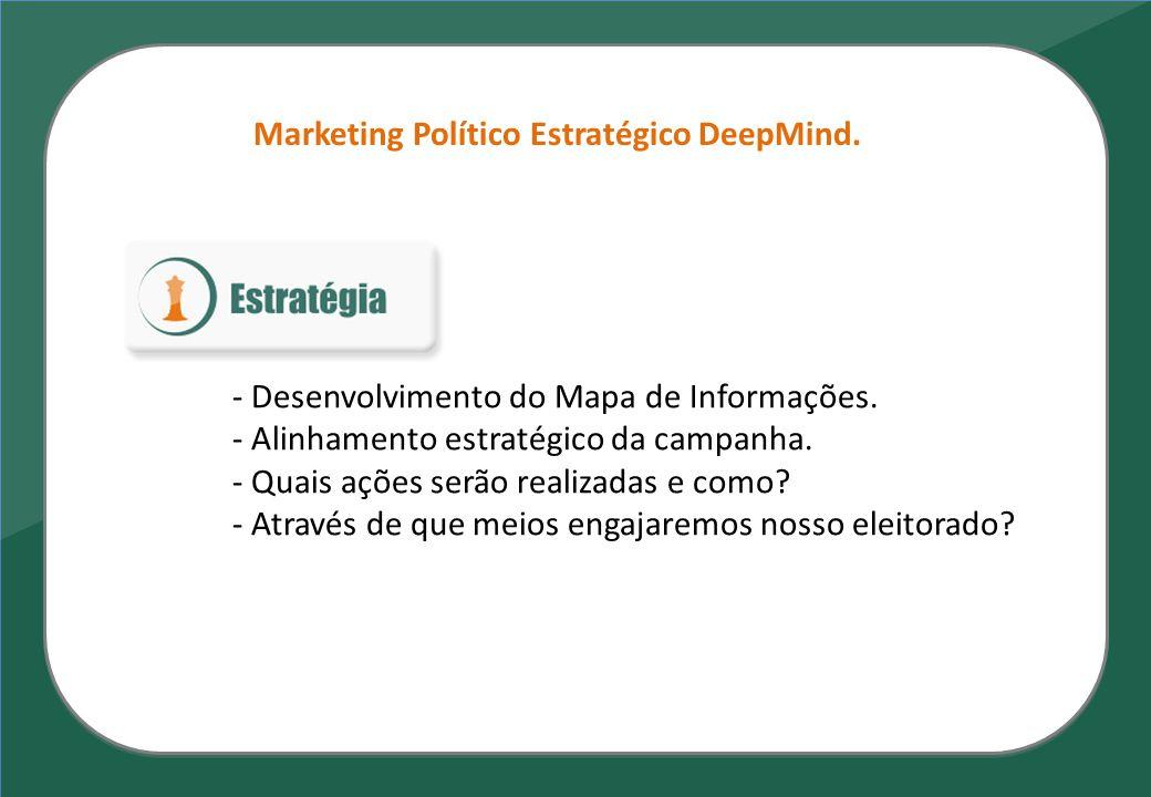 Marketing Político Estratégico DeepMind. - Desenvolvimento do Mapa de Informações. - Alinhamento estratégico da campanha. - Quais ações serão realizad