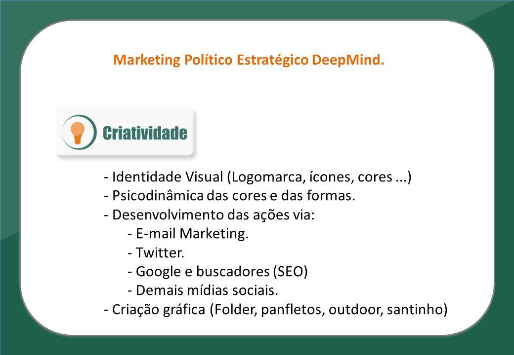 Marketing Político Estratégico DeepMind. - Identidade Visual (Logomarca, ícones, cores...) - Psicodinâmica das cores e das formas. - Desenvolvimento d
