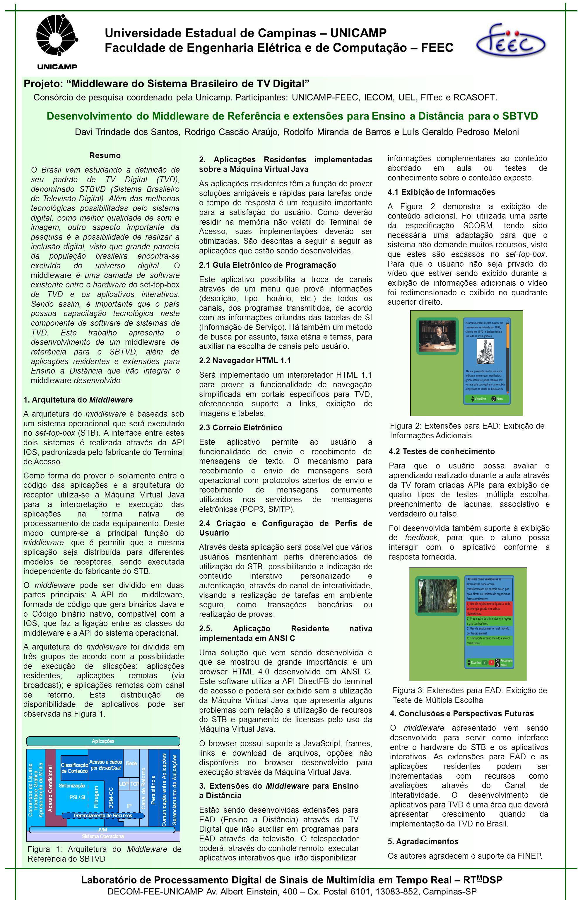 Universidade Estadual de Campinas – UNICAMP Faculdade de Engenharia Elétrica e de Computação – FEEC Projeto: Middleware do Sistema Brasileiro de TV Digital Consórcio de pesquisa coordenado pela Unicamp.