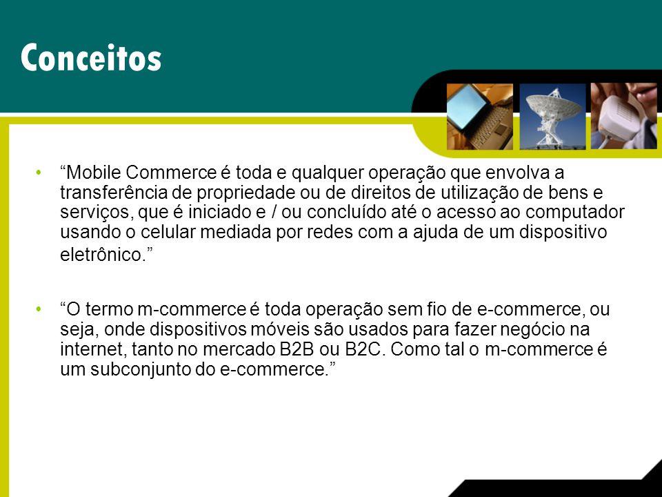 Conceitos Mobile Commerce é toda e qualquer operação que envolva a transferência de propriedade ou de direitos de utilização de bens e serviços, que é