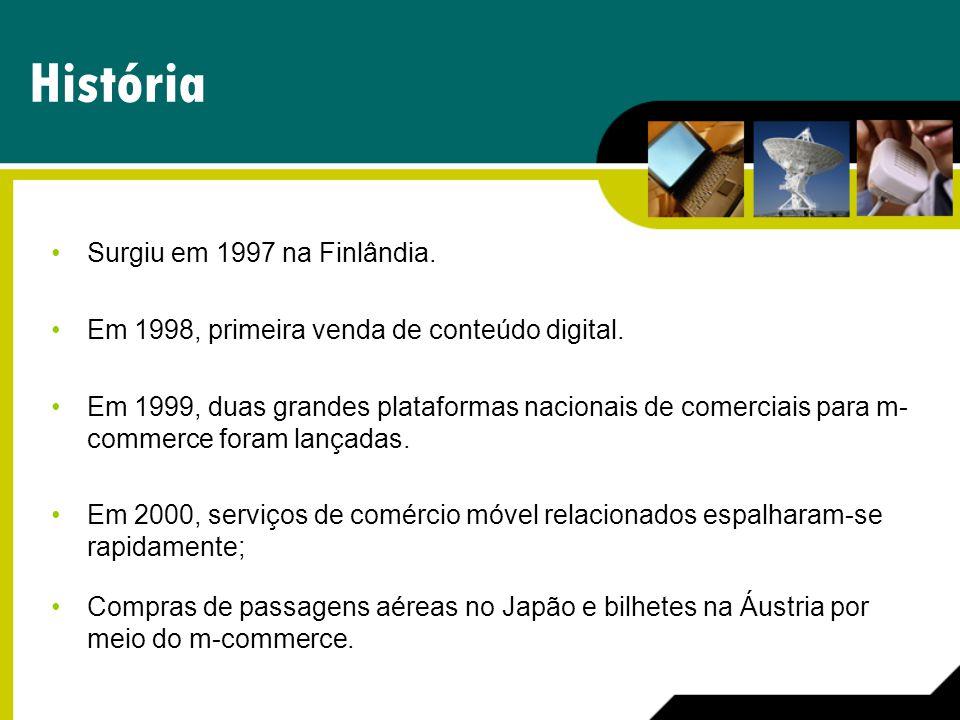 História Surgiu em 1997 na Finlândia. Em 1998, primeira venda de conteúdo digital. Em 1999, duas grandes plataformas nacionais de comerciais para m- c