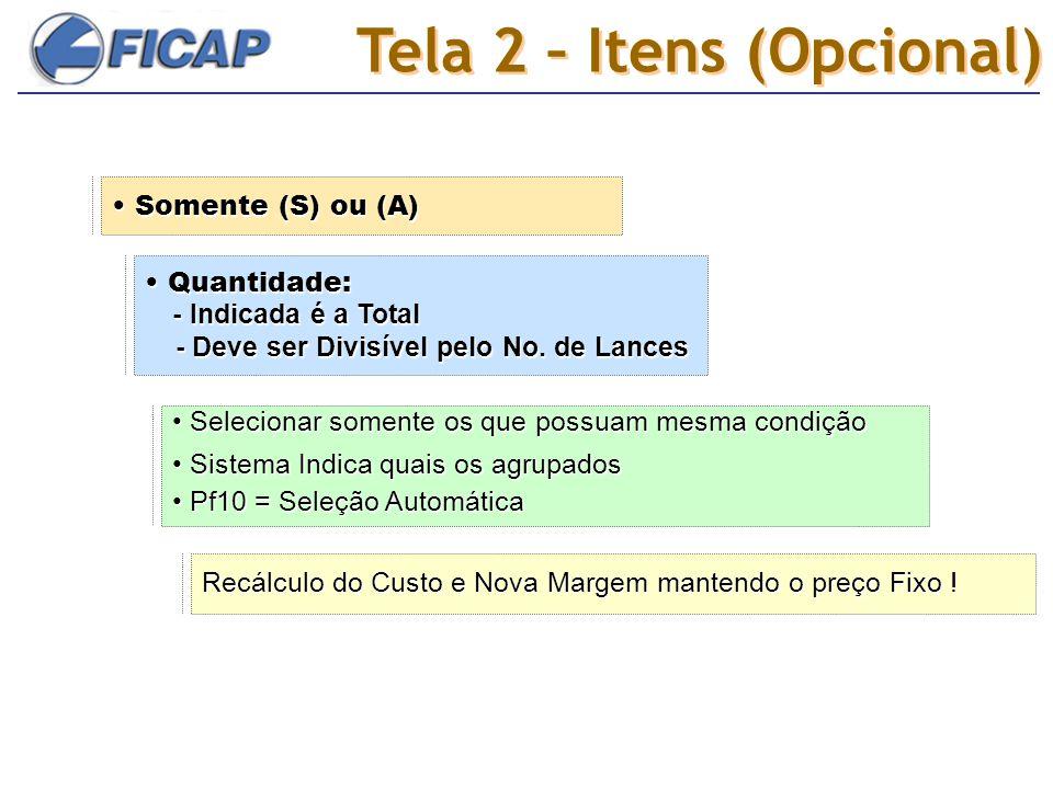 Tela 2 – Itens (Opcional) Somente (S) ou (A) Somente (S) ou (A) Quantidade: - Indicada é a Total - Deve ser Divisível pelo No.