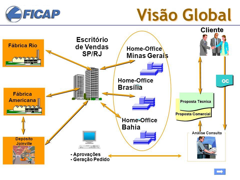 Visão Global Cliente Escritório de Vendas SP/RJ Home-Office Minas Gerais Home-Office Brasília Home-Office Bahia Fábrica Americana Análise Consulta Fáb