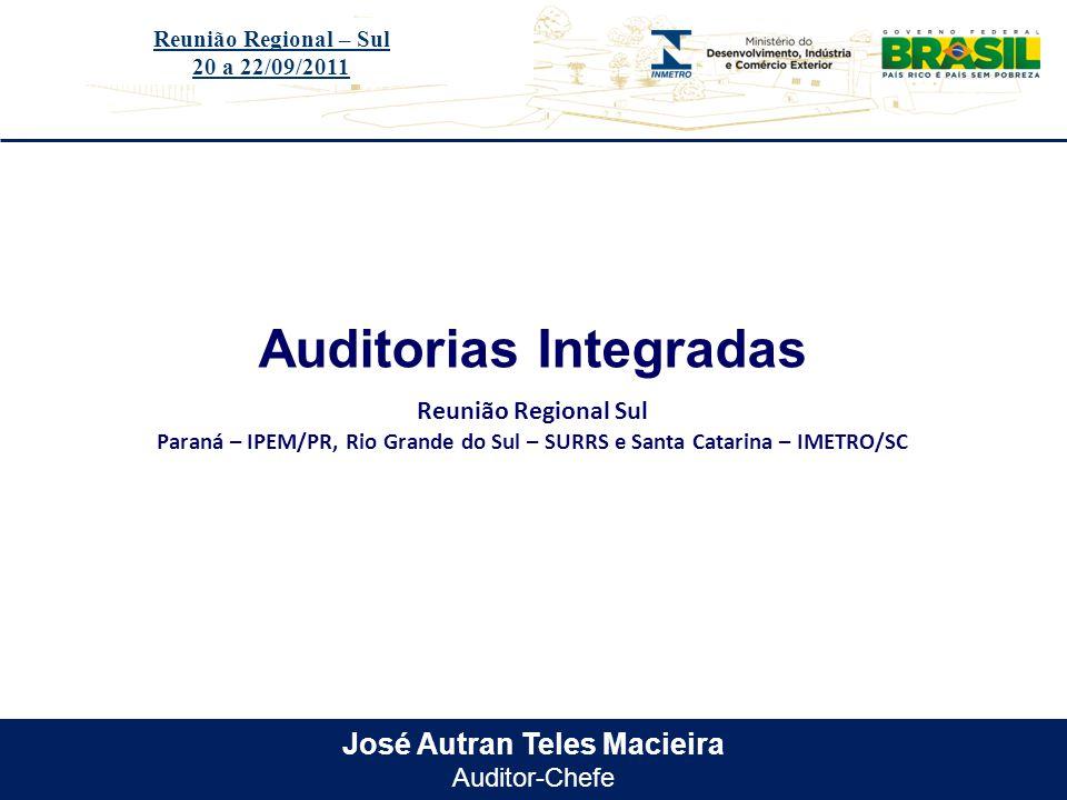Título do evento José Autran Teles Macieira Auditor-Chefe Auditorias Integradas Reunião Regional – Sul 20 a 22/09/2011 Reunião Regional Sul Paraná – I