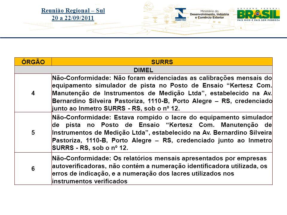 Título do evento Reunião Regional – Sul 20 a 22/09/2011 ÓRGÃOSURRS DIMEL 4 Não-Conformidade: Não foram evidenciadas as calibrações mensais do equipame