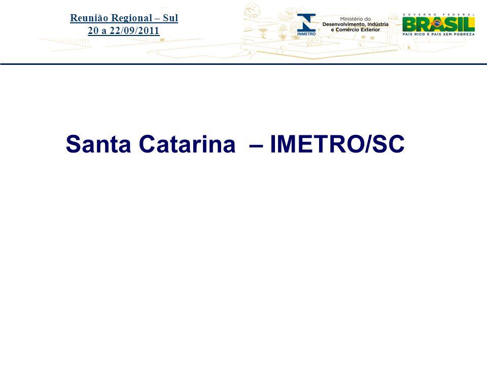 Título do evento Santa Catarina – IMETRO/SC Reunião Regional – Sul 20 a 22/09/2011