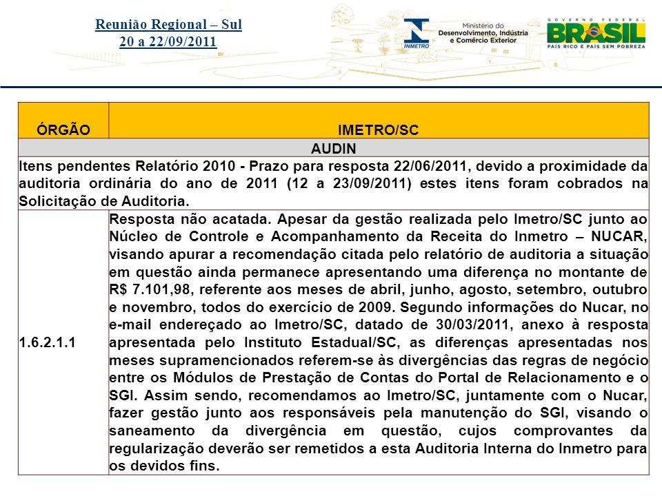 Título do evento Reunião Regional – Sul 20 a 22/09/2011 ÓRGÃOIMETRO/SC AUDIN Itens pendentes Relatório 2010 - Prazo para resposta 22/06/2011, devido a
