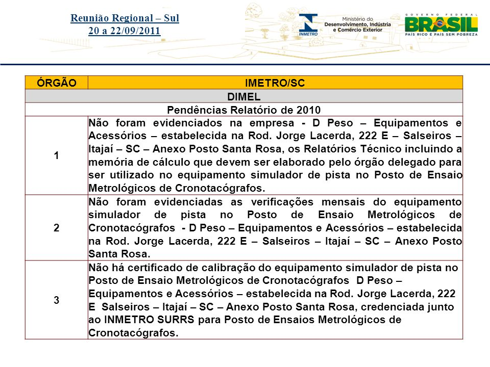 Título do evento Reunião Regional – Sul 20 a 22/09/2011 ÓRGÃOIMETRO/SC DIMEL Pendências Relatório de 2010 1 Não foram evidenciados na empresa - D Peso