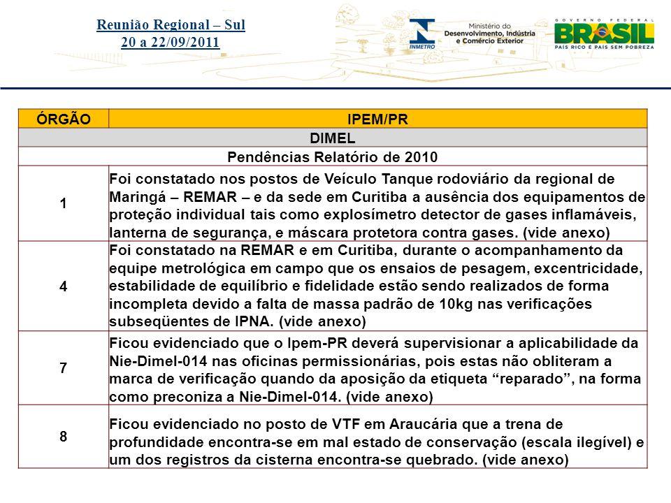 Título do evento Reunião Regional – Sul 20 a 22/09/2011 ÓRGÃOIPEM/PR DIMEL Pendências Relatório de 2010 1 Foi constatado nos postos de Veículo Tanque