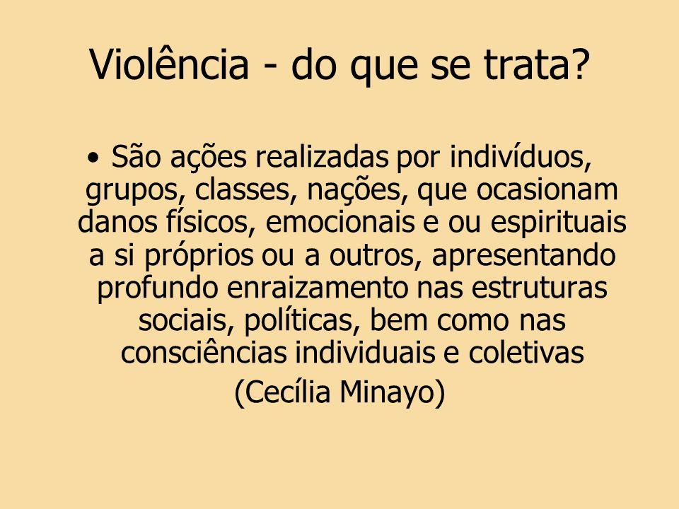 Violência - do que se trata? São ações realizadas por indivíduos, grupos, classes, nações, que ocasionam danos físicos, emocionais e ou espirituais a