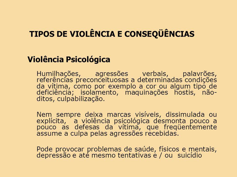 Violência Psicológica Humilhações, agressões verbais, palavrões, referências preconceituosas a determinadas condições da vítima, como por exemplo a co