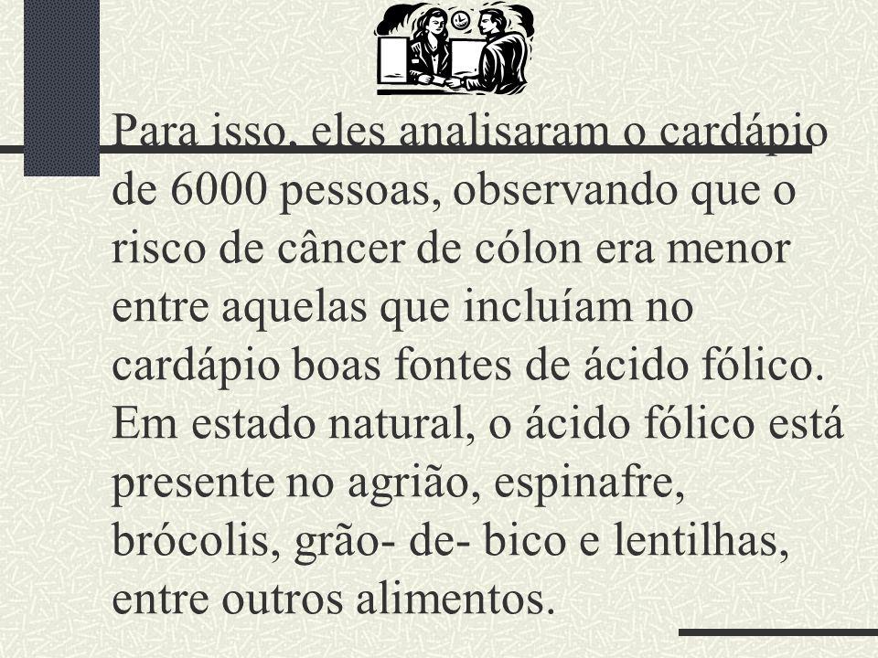 Para isso, eles analisaram o cardápio de 6000 pessoas, observando que o risco de câncer de cólon era menor entre aquelas que incluíam no cardápio boas fontes de ácido fólico.