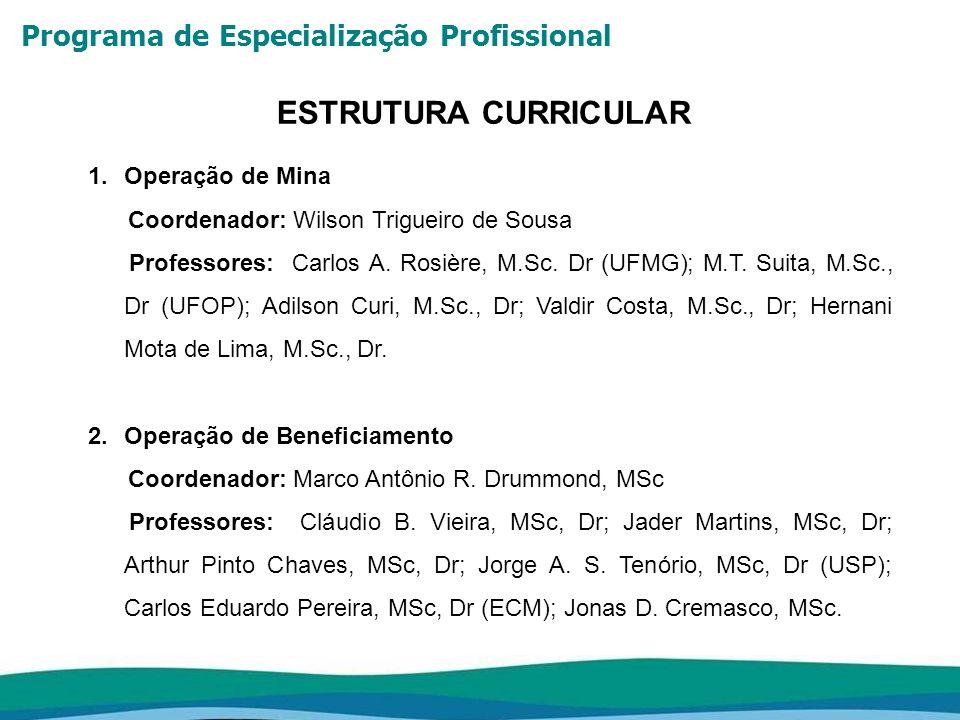 Programa de Especialização Profissional ESTRUTURA CURRICULAR 1.Operação de Mina Coordenador: Wilson Trigueiro de Sousa Professores: Carlos A. Rosière,
