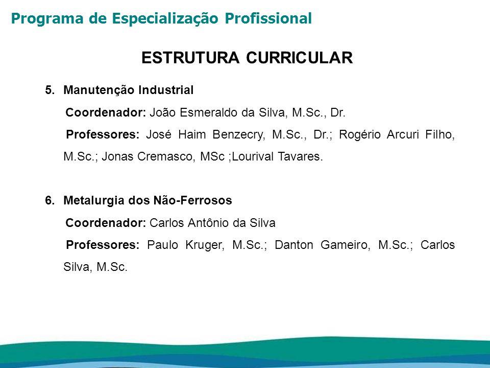 Programa de Especialização Profissional ESTRUTURA CURRICULAR 5.Manutenção Industrial Coordenador: João Esmeraldo da Silva, M.Sc., Dr. Professores: Jos