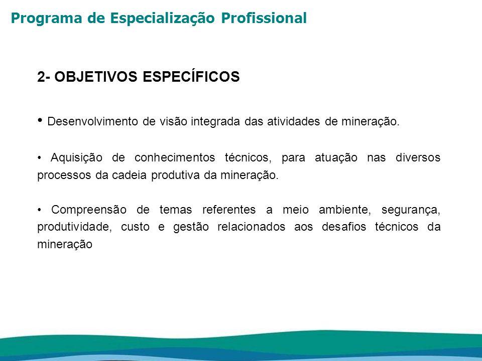 Programa de Especialização Profissional 2- OBJETIVOS ESPECÍFICOS Desenvolvimento de visão integrada das atividades de mineração. Aquisição de conhecim