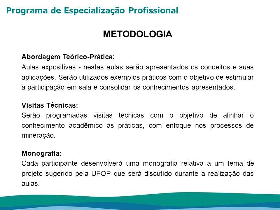Programa de Especialização Profissional METODOLOGIA Abordagem Teórico-Prática: Aulas expositivas - nestas aulas serão apresentados os conceitos e suas