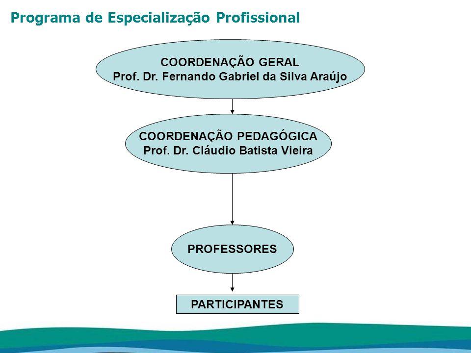 Programa de Especialização Profissional COORDENAÇÃO GERAL Prof. Dr. Fernando Gabriel da Silva Araújo COORDENAÇÃO PEDAGÓGICA Prof. Dr. Cláudio Batista