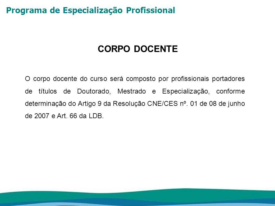 Programa de Especialização Profissional CORPO DOCENTE O corpo docente do curso será composto por profissionais portadores de títulos de Doutorado, Mes