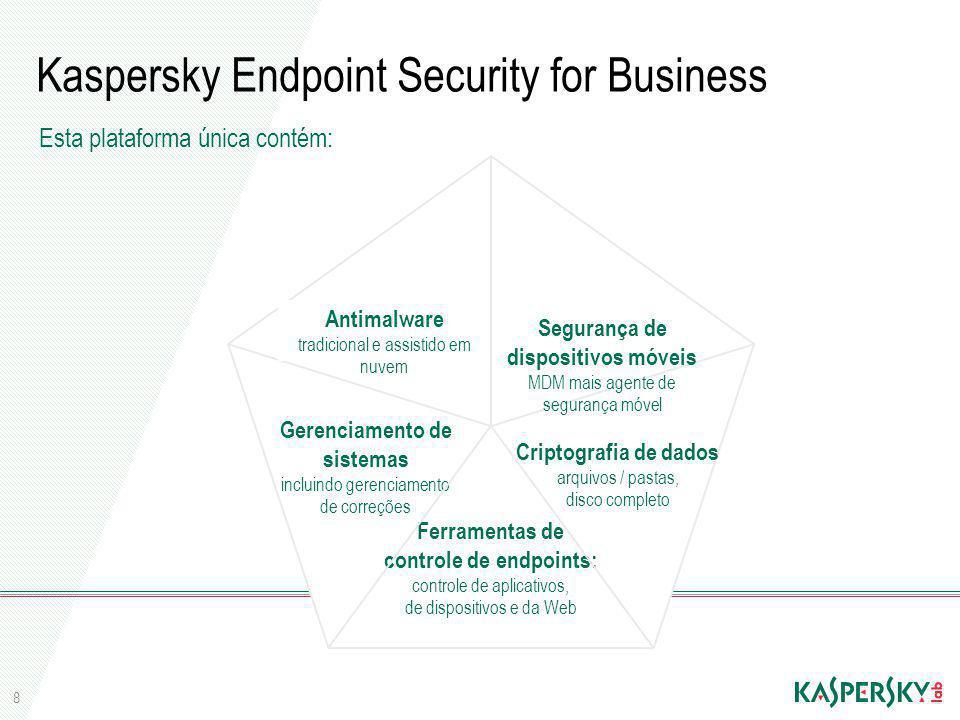 8 Kaspersky Endpoint Security for Business Esta plataforma única contém: Antimalware tradicional e assistido em nuvem Segurança de dispositivos móveis