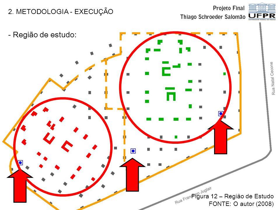 2. METODOLOGIA - EXECUÇÃO - Região de estudo: Figura 12 – Região de Estudo FONTE: O autor (2008)