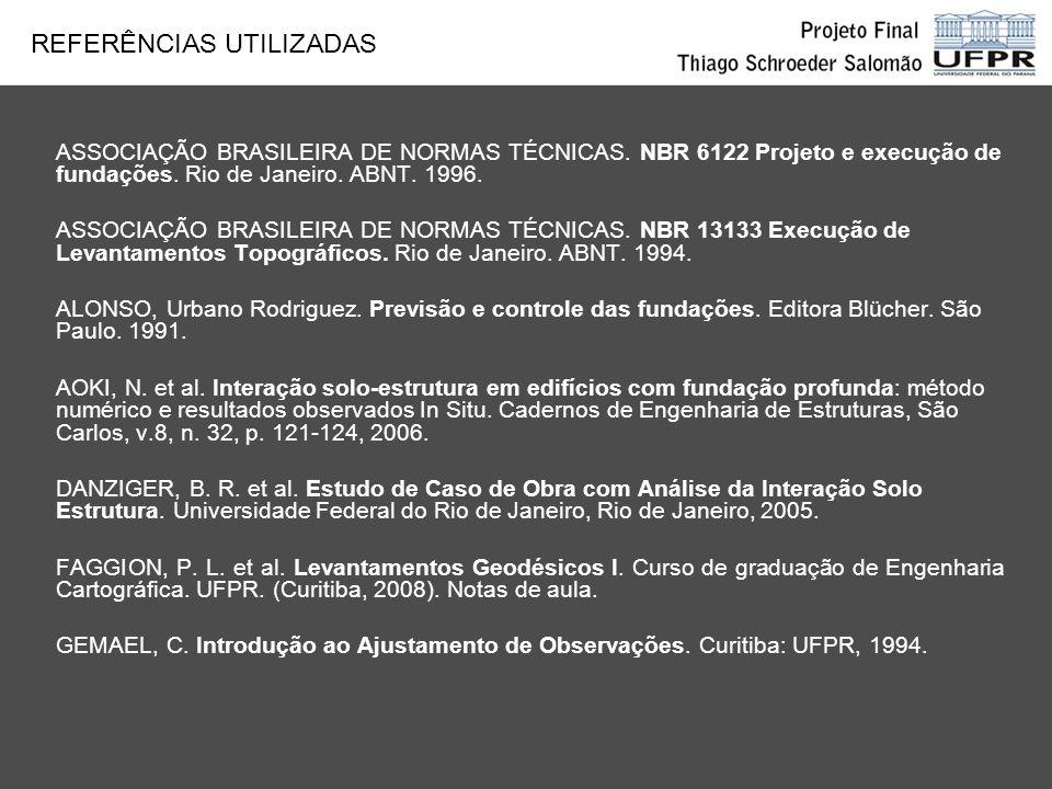 ASSOCIAÇÃO BRASILEIRA DE NORMAS TÉCNICAS. NBR 6122 Projeto e execução de fundações. Rio de Janeiro. ABNT. 1996. ASSOCIAÇÃO BRASILEIRA DE NORMAS TÉCNIC