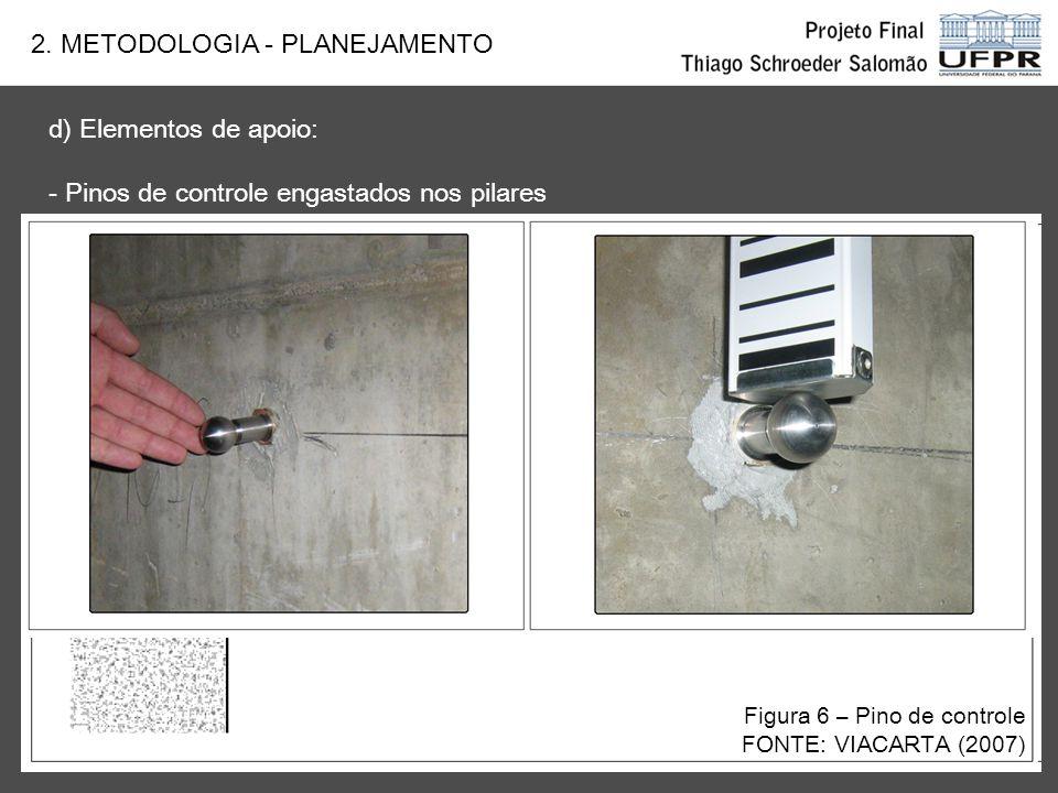 d) Elementos de apoio: - Pinos de controle engastados nos pilares Figura 7 - Pinos de controle FONTE: VIACARTA (2007) 2. METODOLOGIA - PLANEJAMENTO Fo