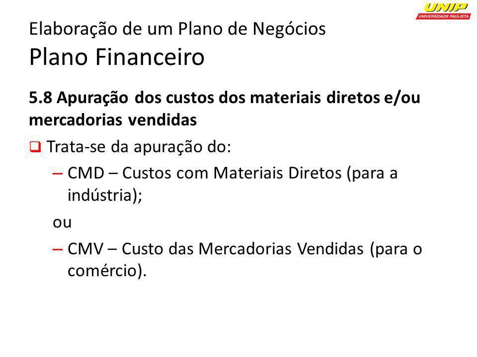 5.8 Apuração dos custos dos materiais diretos e/ou mercadorias vendidas Trata-se da apuração do: – CMD – Custos com Materiais Diretos (para a indústri
